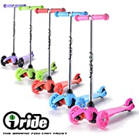 iRide Mini Three Wheel Kick Scooter - Perfect For Children Aged 2+ - LED Light Up Wheels - Easy Glide Tilt to Turn Ensuring Easy Use For Small Children & Hours Of Fun Maximum Child Safety …