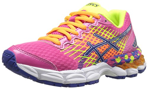 Asics Gel Nimbus 17 GS Running Shoe (Little Kid/Big Kid) Hot Pink/Deep Blue/Flash Yellow