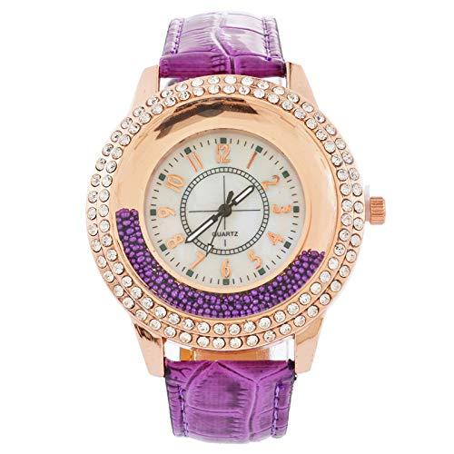 Souarts Damen Armbanduhr Frauen Analog Quarzuhr Lederarmband Treibsand Strass Zifferblatt mit Batterie