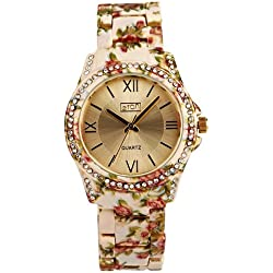 Eton Ladies Sunray Dial Crystal Bezel Cream Floral Bracelet Strap Watch 3250L