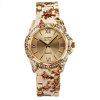 Eton señoras Sunray Dial Cristal Bisel Color Crema Floral pulsera correa reloj 3250L