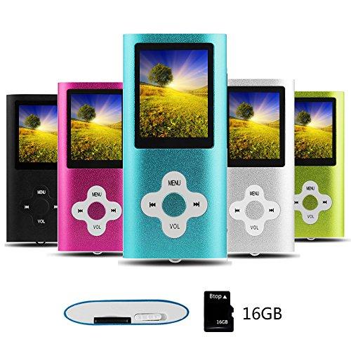 Btopllc MP3 / Lecteur MP4, Lecteur de Musique numérique Carte mémoire intégrée de 16 Go, Lecteur MP3 / MP4 Compact et Portable, Lecteur vidéo, Livre électronique, Lecteur d'image-Bleu
