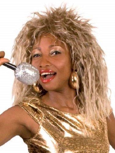 Tina Turner Kostüm Damen 1980s Prominent Berühmt Person Kleid Outfit Perücke (Turner Kostüm)