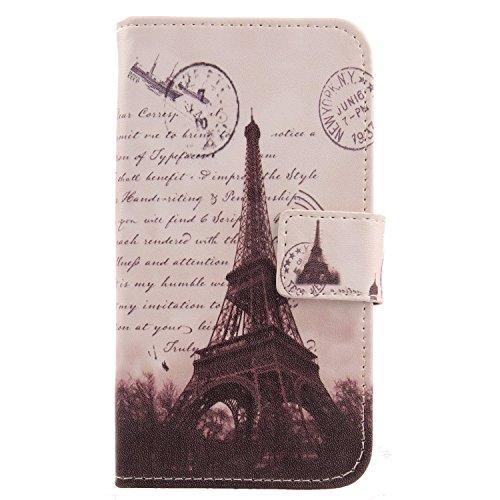 Lankashi PU Flip Leder Tasche Hülle Case Cover Schutz Handy Etui Skin Für Kazam Th&er 345L Stamp Tower Design