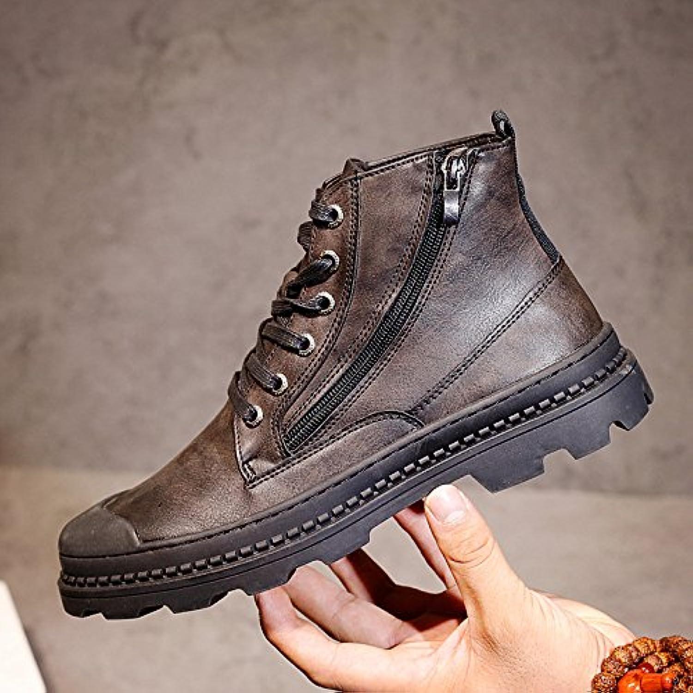 HL-PYL-hombres zapatos altos Martin botas zapatos All-Match Calzado casual zapatos de hombre en Europa,44,negro