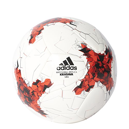 adidas Confed Mini Fußball, Top:White/Red/Power Red/Clear Grey Bottom:Black, 1