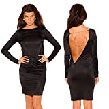 zarima Damen Kleid Knielang Cut Out Kette Party S 34 36 Schwarz