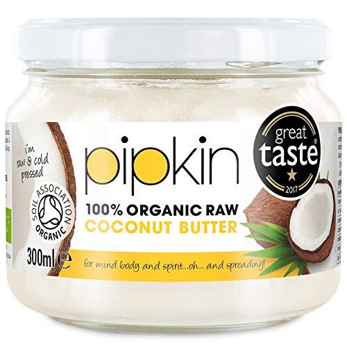 Burro di cocco 100% organico di pipkin 300ml, non-gmo, concentrato cremoso di extra vergine, polpa cruda commestibile e senza zucchero, spremuto a freddo, senza glutine o senza lattosio