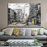 wjwiang Abstrakte Landschaft Poster Und Drucke Auf Leinwand Wandkunst Ölgemälde New York Und Paris Blick Auf Die Stadt Bild Für Wohnzimmer Dekor 70X100Cm Kein Rahmen Pc7931