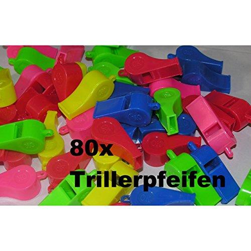 80x Kinder Trillerpfeife Signalpfeife Fussball Mitgebsel Tombola Party Geburtstag