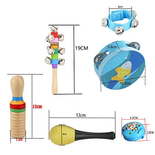 ammoon Musical Toys Kit 10pcs/set Percussion Instruments Set Band Rhythm Kit Including Tambourine Maracas Castanets Handbells Wooden Guiro for Kids Children Toddlers
