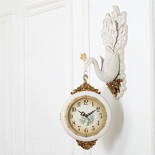 Clock Double Sided Wall (Europäische doppelseitige Wanduhr, europäische und amerikanische Stil Pfau Modellierung stille Bewegung doppelseitige Zifferblatt , 005 , 20 inch)