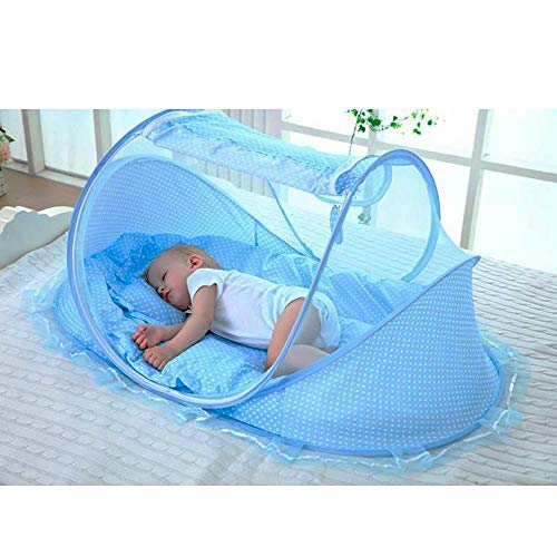 E-CHENG Baby Mosquito Net Bed, Portable Infant Tent Folding Infant Travel Crib Mosquito Bed Summer (Blue.)