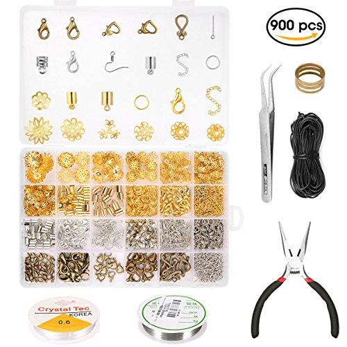 stellung Set, Schmuck Zubehör Werkzeug, Schmuckdraht Kette ohrringe spaltringe verschluss für Ohrring Armband Halsketten Anfänger gold/silber/bronz (Schmuck-werkzeuge)