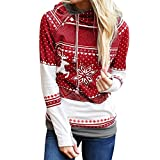 TUDUZ Damen Langarm Sweatshirt, Letter Merry Christmas Print Mit Kapuze Sweatshirts Loose Bluse Herbst Winter Party (XXL, Rot)