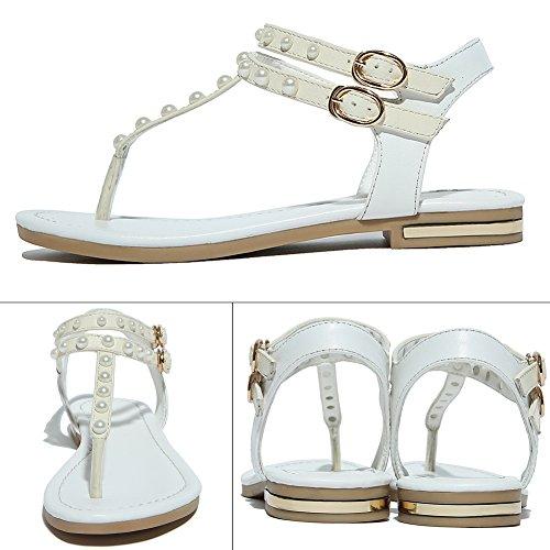 Zicac Damen Sandalen Flip Flops Perlen Sandalen mit Keilabsatz Weiß