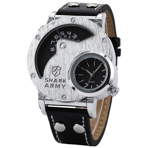 Shark Army SAW053–Montre de poignet pour homme, bracelet en cuir noir