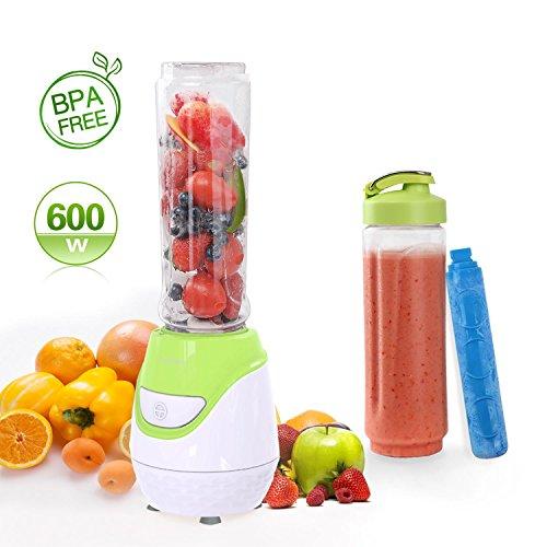 Foto de Aigostar Greenberry 30JHU - Batidora de vaso portátil, 600W, tubo refrigerante, incluye 2 vasos portátiles de Tritan de 600 ml y 2 tapas. Libre de BPA, color verde y blanco. Diseño exclusivo.