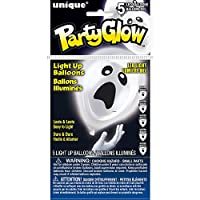 "Unique Party 54795 - 10"" Latex Scaredy Ghost Halloween LED Light Up Balloons, Pack of 5"