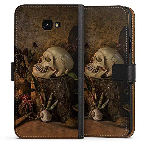 mpatibel mit Samsung Galaxy J4 Plus Duos (2018) Leder Flip Case Ledertasche Tod Death Schädel ()