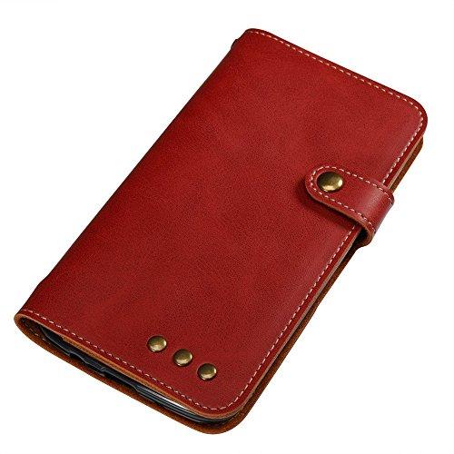 Normallack Faux Ledertasche Retro Folio Horizontale Flip Stand Case mit Magnetniet Verschluss & Card Slots & Lanyard für LG K8 ( Color : Brown ) Red