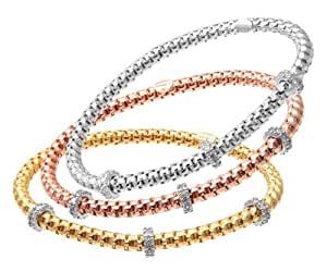 Citerna Gold Plated Silver 3 Colour Stretch Bracelet with Cubic Zirconia Rings Set of Three 19 cm long