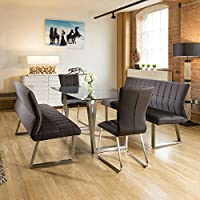 f01512be3f Quatropi Modern 8 Seater Grey Glass Dining Table Set 2 x Benches and 2 x  Chairs