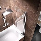 Schulte Duschwand Valet, 130x140 cm, 3-teilig faltbar, Sicherheitsglas klar 6 mm, Profilfarbe chrom-optik, Duschabtrennung für Badewanne Vergleich