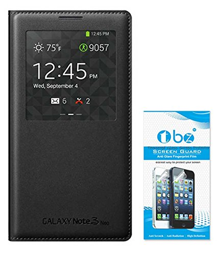 TBZ PU Leather Non-Sensor Flip Cover Case for Samsung Galaxy Note 3 Neo with Tempered Glass Screen Guard -Black