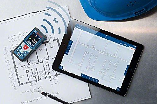 Bosch Professional GLM 50 C Laser-Entfernungsmesser (Messbereich 0,05-50 m, Bluetooth Schnittstelle für Apps (iOS, Android), drehbares Farb-Display, Schutztasche, IP54 Staub- und Spritzwasser-Schutz) 0601072C00 - 4