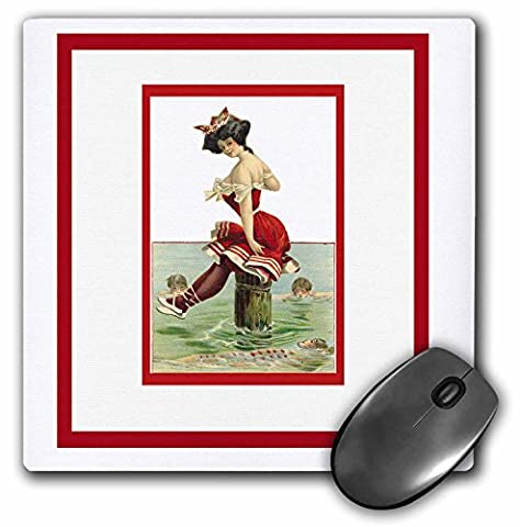 3dRose LLC 8 x 8 x 0.25 Inches Mouse Pad, Pretty Lady in A Victorian Era Bathing Suit Sitting On A Post -
