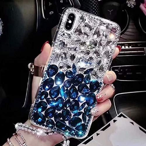Preisvergleich Produktbild Luxus Glitzer Hülle für Huawei Honor 8X Max,  Misstars 3D Bling Diamant Handyhülle Transparent Hart PC Rückschale mit Silikon TPU Rahmen Schutzhülle für Huawei Honor 8X Max,  Silber+Blau