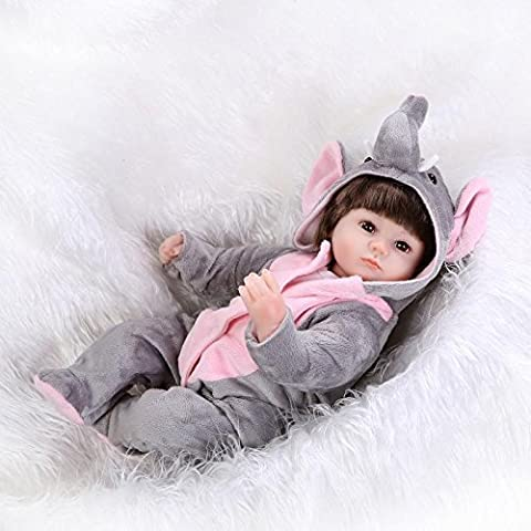 Nicery Reborn Baby Doll Soft Simulation Silicone Vinyl 18inch 45cm Magnetic Mouth Lifelike Boy Girl Toy Gray Elephant Eyes