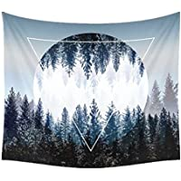 Dremisland Sunset Forest Ocean and Mountains Wall Hanging Tapestry Nature Home Decorations for Living Room Bedroom Dorm Decor in 52x59 Inches (Sun forest)