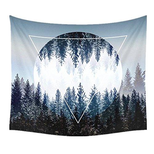 Bett Blatt Königin Baumwolle (Dremisland Sonnenuntergang Wald Ozean Berge Wandbehang Tapisserie Natur Hausdekorationen wandteppich zum Wohnzimmer Schlafzimmer Dekor in 150 X 130cm (Sonnenwald))