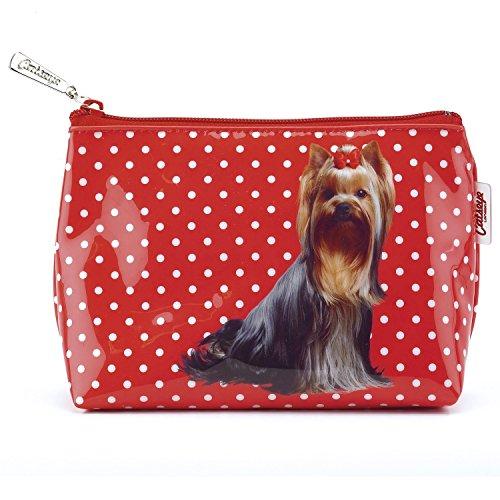 Catseye Kosmetiktasche - Yorkshire Terrier auf Rot mit weißen Punkten