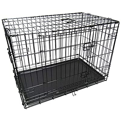 Pet Transport Cage for Dog & Cat in Car with Metal Two Door Crate with Safe Lock by Chameleon
