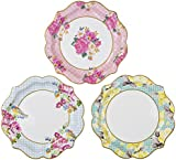 Talking Tables Truly Scrumptious Floral Paper Plates for Birthday, Tea Party, Wedding and Party Celebrations, Vintage Chic, Multicolour, Dia 22cm (12 Pack in 3 designs)