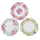 Talking Tables Truly Scrumptious Floral Plates for a Tea Party, Wedding, Multicolor (12 Pack)