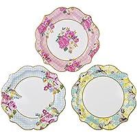 Talking Tables Platos medio con detalles florales 'TS4.' Paquete de 12 con 3 patrones diferentes. Para una fiesta de muñecas o bodas. Amarillo, Rosa y Azul.