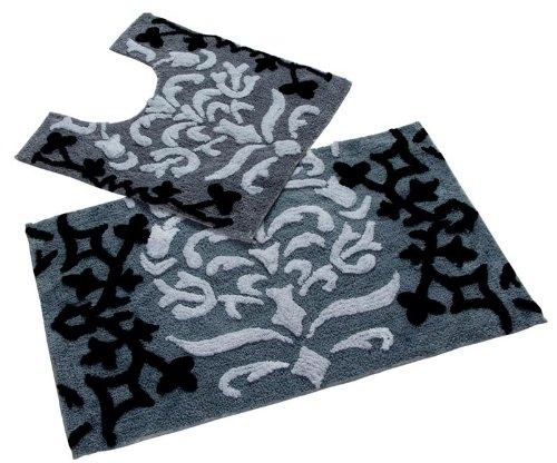 Auf Einem Damast Teppich (Homescapes 2-teiliges Badematten-Set Damask Badematte 50 x 80 cm und WC Vorleger 50 x 55 cm 100% reine Baumwolle schwarz weiß)