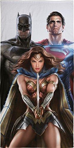 Justice league trinity, telo da mare in cotone, con immagine di batman, superman e wonder woman