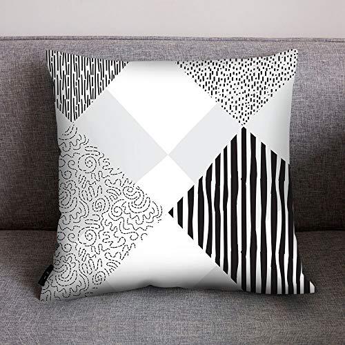 NEEKY Taie d'oreiller Linge de Literie Pas Cher 2019 Mode Canapé-lit Accueil Décoration Coussin Couverture Géométrique Noir Blanc Coussin en Polyester Pillowcase(45cm*45cm)