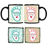 YaYa cafe Mothers Fathers Day, To Be Mommy Daddy Couple Mugs Set of 2 Combo for New Mom Dad (330ml, Green, Beige)