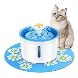Distributore d'acqua intelligente per animali domestici, circolazione automatica, cane e gatto, fontana, muto, purificazione del filtro, tre modalità di flusso, stoccaggio dell'acqua 1,6 litri,Blue