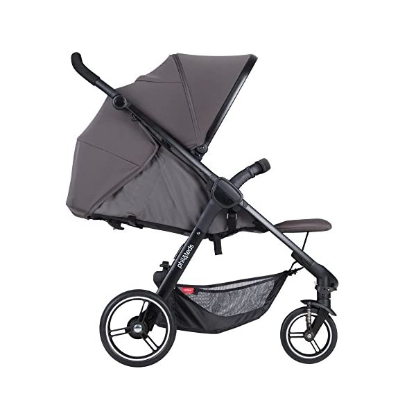 Phil&teds Smart Buggy Pushchair, Graphite phil&teds Foot fold - intuitive, compact, one-piece standing foot fold - a world's first of its kind - is only 23 Inch wide, making it perfect for tight city spaces ; A unique aerocore seat design that's soft and spongy for maximum comfort and is hypo-allergenic, ventilating, insulating, UV resistant, waterproof, non-toxic and simply wipes clean Smooth ride tires - super-smooth, hassle-free riding with 10 Inch rear puncture-proof, aerotech wheels and suspension on all four wheels; convenient hand-operated parking brake offers easy braking control at your fingertips Lightweight - stroller weighs 23.5 lbs. and includes a main, full-size seat that holds up to 44 lbs., an extendable leg and a sun hood with zip-out extension and silent peek-a-boo flap 8
