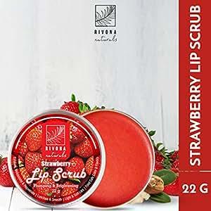 Rivona Naturals Strawberry Lip Scrub for Pumping & Brightening Dark Lips - 22 g