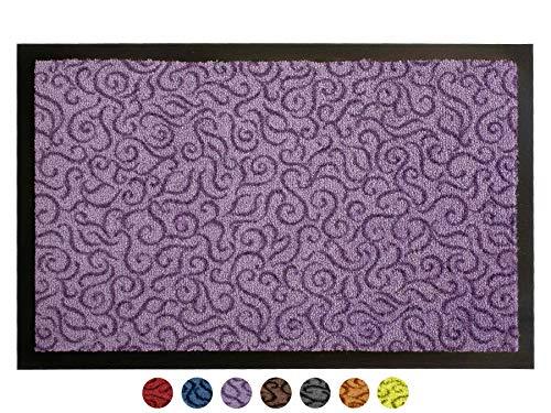 Schmutzfangmatte Türvorleger BRASIL Sauberlaufmatte - 90x150 cm, Lila Flieder, Fußmatte Rutschfest, Waschbar, für Innen und Außen Geeignet