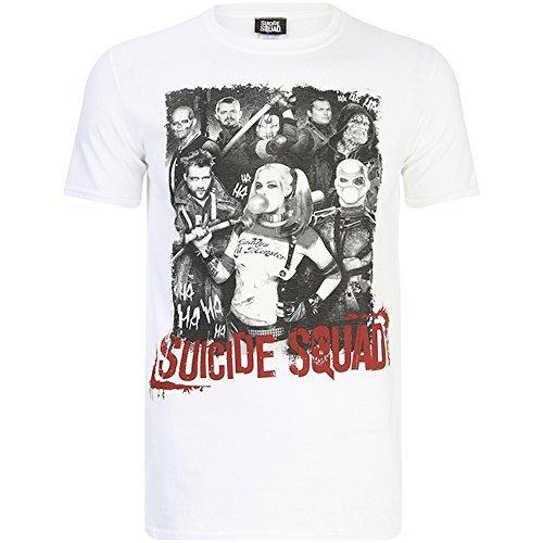 Suicide Squad - Harley Quinn y Team - Camiseta Oficial Hombre - Blanco, Small