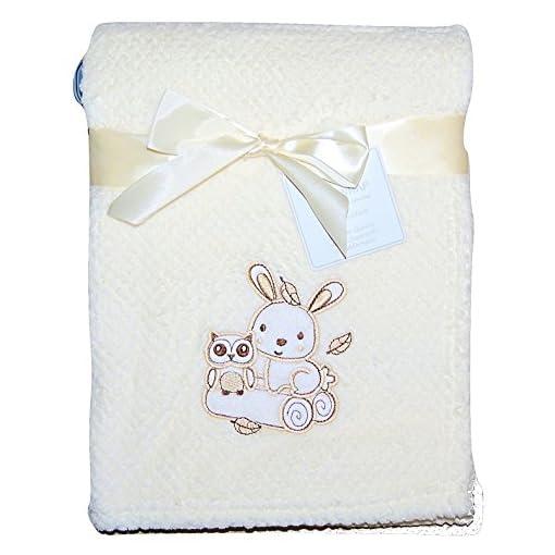 Baby-Girl-Boy-Unisex-Soft-Fleece-Wrap-Blanket-Pram-Cot-Crib-Moses-Basket-Cream-Owl-Rabbit-Pink-Blue-Cream